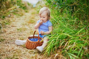 Adorable toddler girl picking fresh organic blueberries