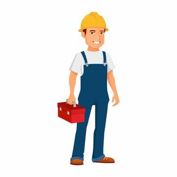 Budowlaniec z skrzynką narzędziową