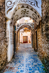Beautiful old streets of traditional villages in Greece - Pyrgi , Chios island