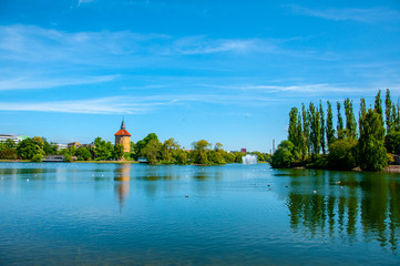 The beautiful landscape of the Pildammsparken lake in the city of Malmo