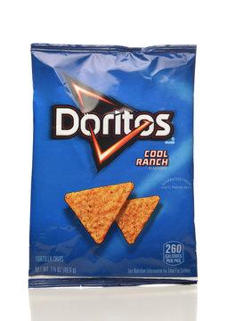 IRVINE, CA - APRIL 4, 2019: A bag of of Dorito Cool Ranch Tortilla Chips from Frito-Lay.