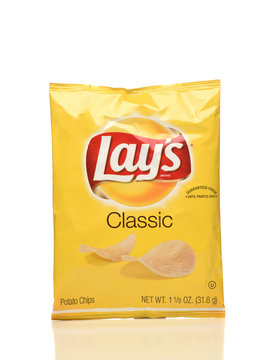 IRVINE, CA - APRIL 4, 2019: A package of LaysClassic Potato Chips, from Frito-Lay Inc.