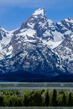 View of Teton Range in Grand Teton National Park, Wyoming, USA
