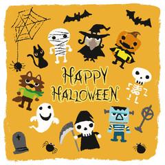 ハロウィンキャラクター(お化けかぼちゃ、ゴースト、魔女、コウモリ、クモ、狼男、モンスター、ガイコツ、ミイラ)イラスト