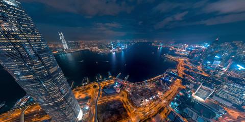 Fotomurales - Panorama aerial view of Hong Kong Financial District