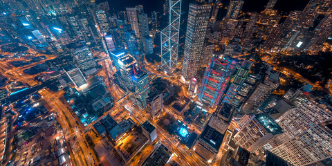 Fototapete - Panorama aerial view of Hong Kong Financial District