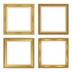 The antique gold frame isolated on white background with clipping path