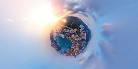 Fototapete - Panorama aerial view of Hong Kong landscape in  Tsuen Wan District