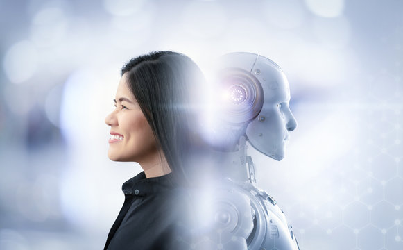 woman happy living with cyborg