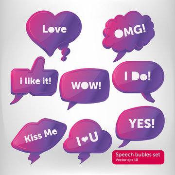 Vector purple 3d speech bubbles comic set fullcolor isolated. The bubles usable for web site design, logo, app, UI, posters. Vector illustration, EPS10.
