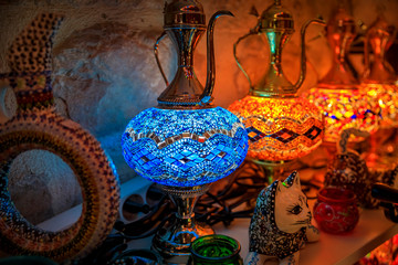 Traditional colorful decorative Turkish oriental lamps for sale in at a souvenir shop in Kotor old town in Montenegro