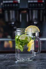 Lemonade or Mojito cocktail with lemon and mint, raspberry, sea buckthorn, grapefruit, cold refreshing drink or drink with ice