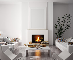 Wall Mural - Mock up poster in modern home interior with fireplace, Scandinavian style, 3d render