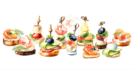 Appetizer for a festive table. Mini canape. Watercolor hand drawn illustration isolated on white background