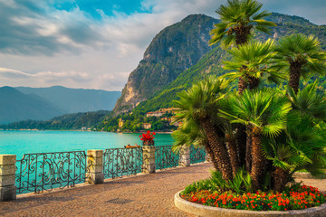 Wall Mural - Colorful flowers and beautiful promenade, Lake Como, Menaggio, Lombardy, Italy