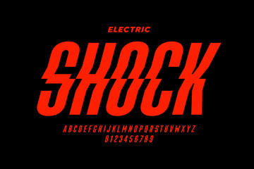 Eclectric shock style font design, alphabet letters and numbers