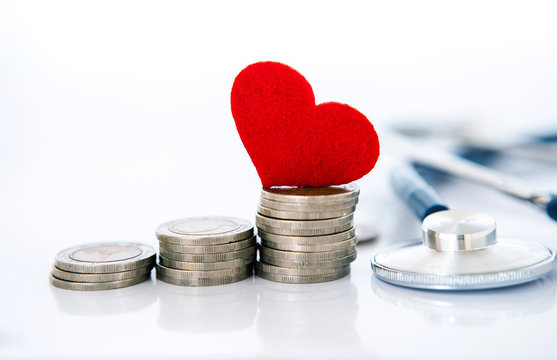 Health  insurance and Medical Healthcare heart disease concept , red heart shape with stethoscope , financail healthcare