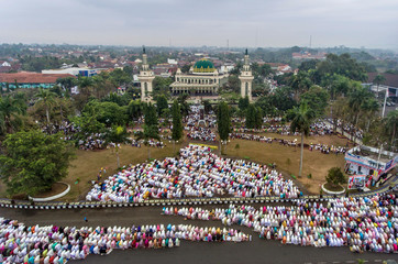 An aerial picture of Indonesian Muslims offering Eid al-Adha prayers in Ciamis, West Java province