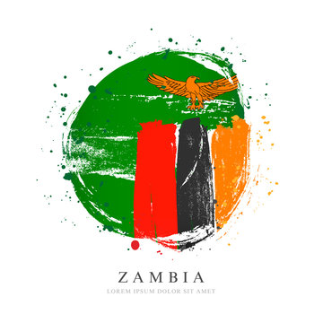 Zambia flag in the shape of a big circle.