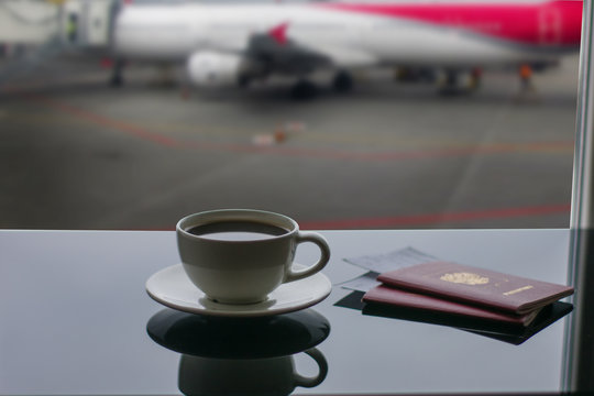 a cup of coffee in airport