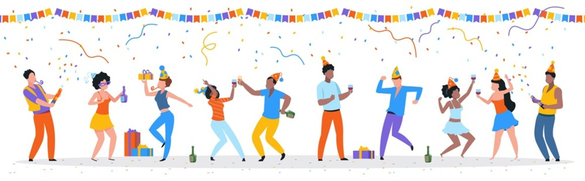 Cartoon party people. Trendy happy dancing group of men and women with party hats, confetti and drinks. Vector illustration birthday young fun man and his friends