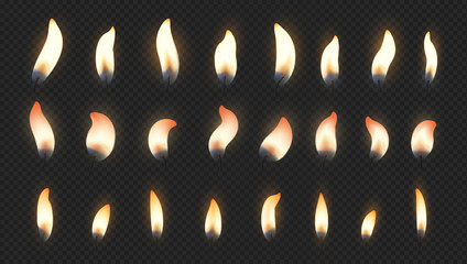 Candle flame. Realistic fire light effects for birthday cake burning candle. Vector candlelight set isolated animation picture on transparent background