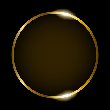 Golden round frame isolated on black background