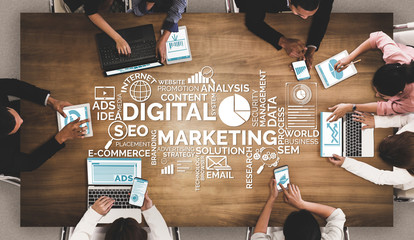 Digital Marketing Technology Solution for Online Business Concept - Graphic interface showing analytic diagram of online market promotion strategy on digital advertising platform via social media. Wall mural