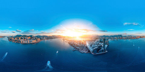 Panorama aerial view of Hong Kong in eastern Victoria Harbor.