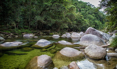 The Mossman river running through Mossman Gorge, Daintree National Park near Port Douglas in tropical Far North Queensland, Australia.