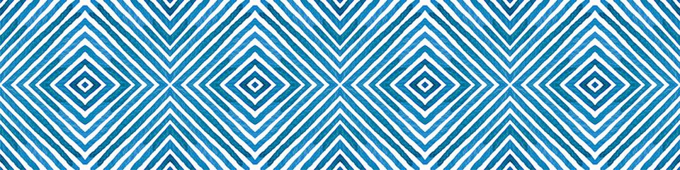 Blue Seamless Border Scroll. Geometric Watercolor