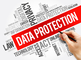 Data Protection word cloud collage