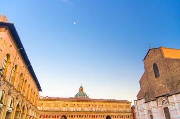 Basilica di San Petronio church, Palazzo dei Banchi and Palazzo Re Enzo palace building on Piazza...
