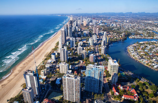 Aerial view of hotels and beach in Surfers Paradise, Queensland, Australia