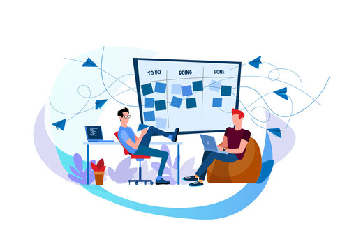 Streamline business processes with workflows. CRM. Discussing tasks at Kanban board. Scrum meeting. Setting goals. Business conversation. Two workers work on laptops. Two engineers perform tasks