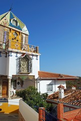 View of the pretty Hermitage (Ermita de Nuestra Senora de Lourdes), founded in 1953), Valdes, Andalusia, Spain.