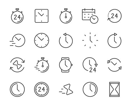 set of time icons, clock, alarm, hours