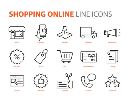 set of shopping online line icons, e-commerce, buy, pay, promotion