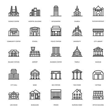 Building Architectures Line Icons