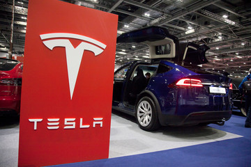 LONDON, UK - FEBRUARY 15th 2019: Tesla car branding on show at the Classic car show in London
