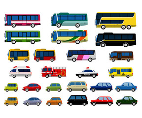 Foto op Aluminium Cartoon cars 自動車バスセット