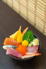 mix fresh raw on topped rice bowl (donburi)