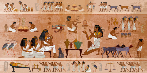 Fototapeta Ancient Egypt frescoes. Life of egyptians. Agriculture, workmanship, fishery, farm. Hieroglyphic carvings on  exterior walls of an ancient temple obraz