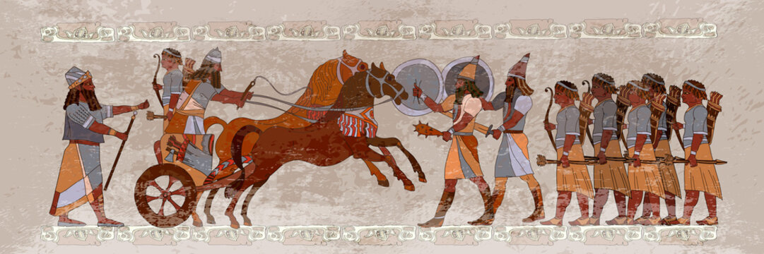 Ancient Sumerian culture. Battle scene. King on chariot. Historical warriors. Akkadian Empire. Mesopotamia. Middle East history civilization art