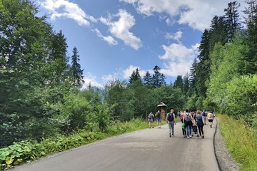 Fototapeta Crowds of people on their way to the sea eye in the Tatras. The biggest attraction for people in the Polish mountains obraz