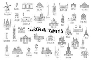 Set of 37 hand drawn landmarks from various European capitals, black ink illustrations Fotomurales