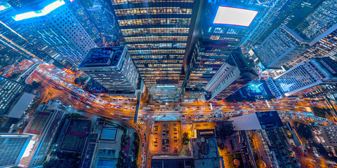 Fotomurales - Panorama aerial view of Hong Kong Nightscape in Central