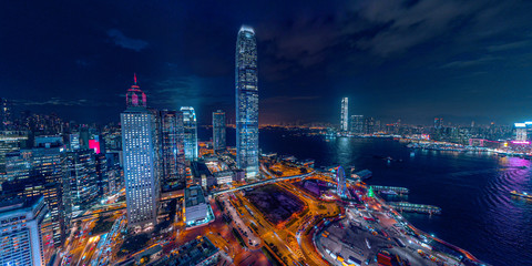 Fototapete - Panorama aerial view of Hong Kong Nightscape in Central
