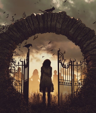 Ghost girl at the gate,3d illustration for book cover,vertical