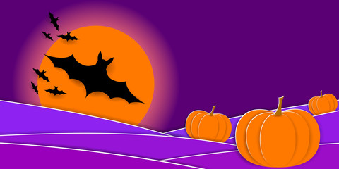 Scary Halloween Night. Pumpkins, silhouette of bats and full moon